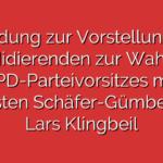 Einladung zur Vorstellung der Kandidierenden zur Wahl des SPD-Parteivorsitzes mit Thorsten Schäfer-Gümbel und Lars Klingbeil