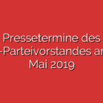 Pressetermine des SPD-Parteivorstandes am 27. Mai 2019