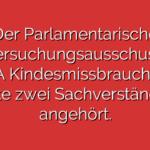 Der Parlamentarische Untersuchungsausschuss IV (PUA Kindesmissbrauch) hat heute zwei Sachverständige angehört.