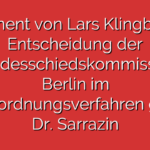 Statement von Lars Klingbeil zur Entscheidung der Landesschiedskommission Berlin im Parteiordnungsverfahren gegen Dr. Sarrazin