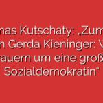 """Thomas Kutschaty: """"Zum Tod von Gerda Kieninger: Wir trauern um eine große Sozialdemokratin"""""""